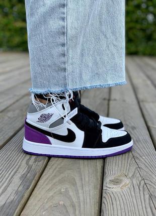Женские кожаные кроссовки nike air jordan 1 retro mid 'varcity purple' фиолетового цвета