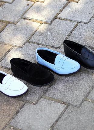 Туфли мокасины натуральная замша и кожа1 фото