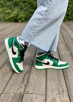 Nike air jordan 1 retro mid 'pine green' кроссовки высокие женские зеленого цвета1 фото