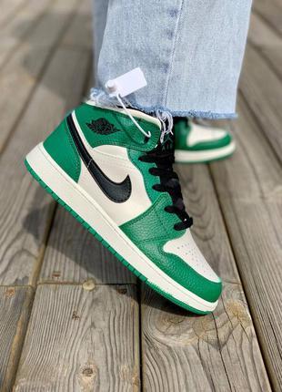 Nike air jordan 1 retro mid 'pine green' кроссовки высокие женские зеленого цвета2 фото