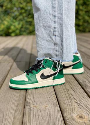Nike air jordan 1 retro mid 'pine green' кроссовки высокие женские зеленого цвета5 фото