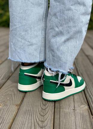 Nike air jordan 1 retro mid 'pine green' кроссовки высокие женские зеленого цвета3 фото