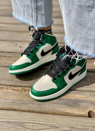 Nike air jordan 1 retro mid 'pine green' кроссовки высокие женские зеленого цвета4 фото