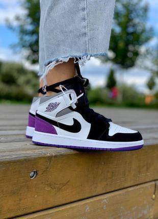 Nike air jordan 1 retro mid 'varcity purple' высокие кроссовки