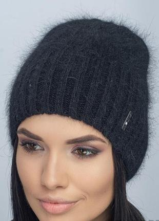 Зимняя женская вязаная модельная шапка мальта цвет черный