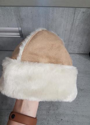 Меховая шапка замш3 фото