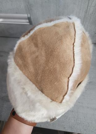 Меховая шапка замш4 фото