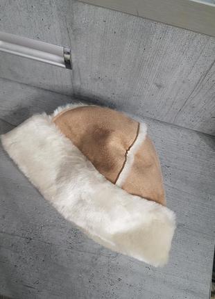 Меховая шапка замш1 фото