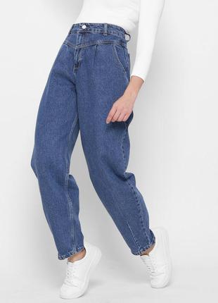 Модные синие mom джинсы1 фото