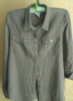 Льняная рубашечка . франция.цвет мокко1 фото