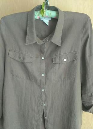 Льняная рубашечка . франция.цвет мокко2 фото