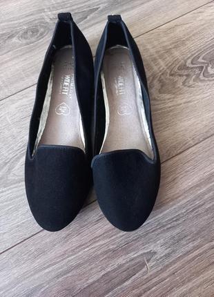 Черные замшевые туфли балетки1 фото