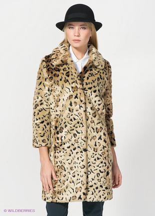 Шуба леопардовая из искуственнного меха kira plastinina xs