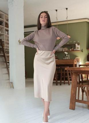 Бежевая шелковая юбка миди , армани шелк3 фото