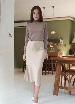 Бежевая шелковая юбка миди , армани шелк1 фото