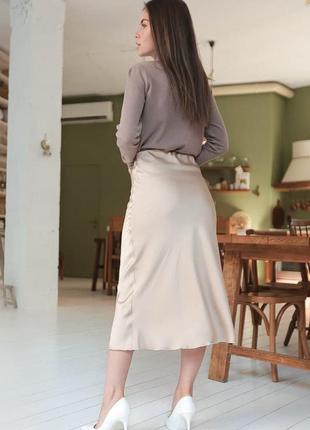 Бежевая шелковая юбка миди , армани шелк4 фото
