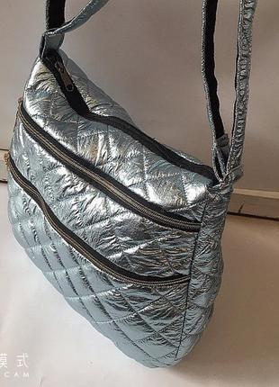 Стёганая женская сумка, болоньевая сумка на длинном ремешке
