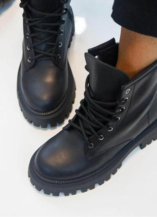 Чёрные кожаные ботинки на осень-зиму vankristi1 фото