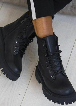 Чёрные кожаные ботинки на осень-зиму vankristi3 фото