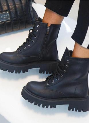 Чёрные кожаные ботинки на осень-зиму vankristi2 фото
