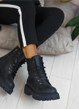 Чёрные кожаные ботинки на осень-зиму vankristi4 фото
