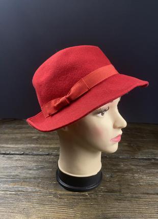 Шляпка фетровая, красная, италия