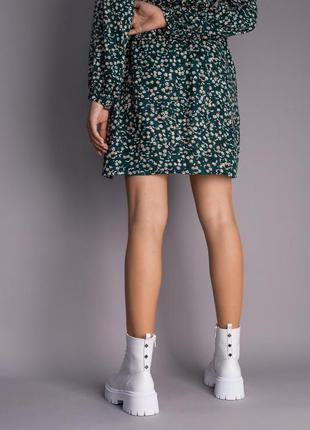 Ботинки женские демисезонные кожаные белые на шнурках и с замком7 фото