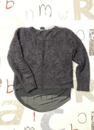 Плюшевый свитер джемпер кудрявый черный свитер с удлиненной спинкой супер цена4 фото