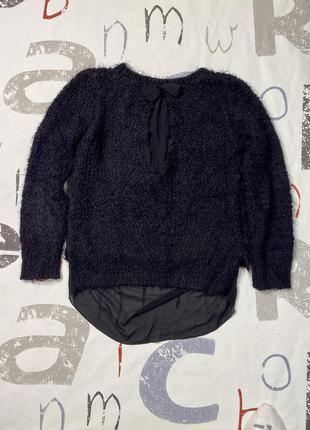 Плюшевый свитер джемпер кудрявый черный свитер с удлиненной спинкой супер цена3 фото