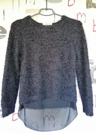 Плюшевый свитер джемпер кудрявый черный свитер с удлиненной спинкой супер цена1 фото