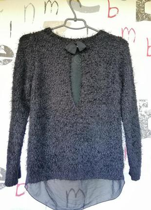 Плюшевый свитер джемпер кудрявый черный свитер с удлиненной спинкой супер цена2 фото