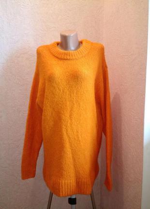 Оранжевый свитер/туника/платье шерсть+альпака