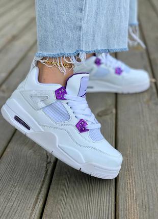 Nike air jordan 4  кроссовки высокие с фиолетовыми вставками