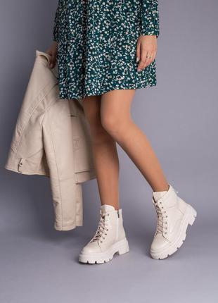 Ботинки женские кожаные молочные на шнурках демисезонные