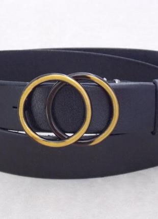 Черный женский кожаный ремень с кольцами