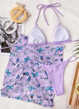 Раздельный купальник бикини. базовый купальник с юбкой. комплект 3в13 фото