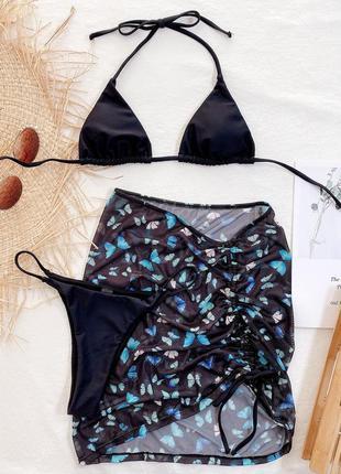 Раздельный купальник бикини. базовый купальник с юбкой. комплект 3в17 фото