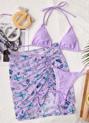 Раздельный купальник бикини. базовый купальник с юбкой. комплект 3в14 фото