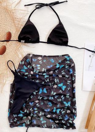 Раздельный купальник бикини. базовый купальник с юбкой. комплект 3в16 фото