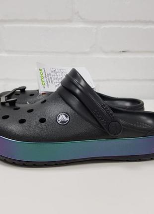 Сабо кроксы клоги crocs crocband iridescent band clog 2065952 фото