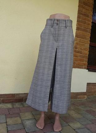 Крутые  дэмисезонные брюки  юбка   в клетку  на  высокой посадке.