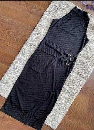 Платье в рубчик с пояском на талии2 фото
