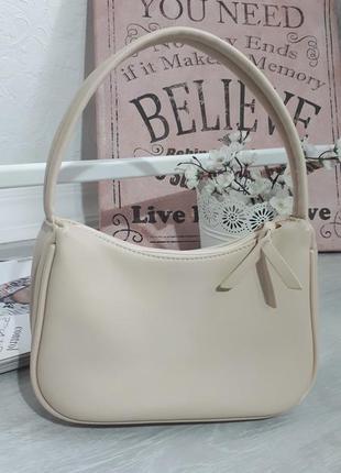 Сумка мини багет клатч сумка на короткой ручке shein бежевая сумочка