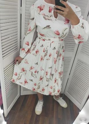Платье женское миди с длинным рукавом свободное в цветочек софт