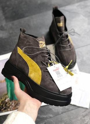 Puma spring boots brown yellow black ботинки женские пума
