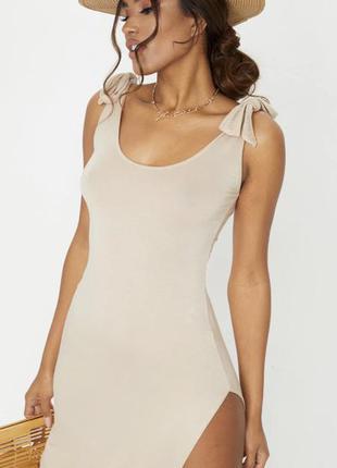 Новое летнее платье с бирками брендовое нюд беж с завязками prettylittlething