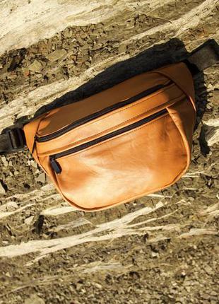 Oversize бананка натуральная кожа карамель сумка гигант на плече не рюкзак!