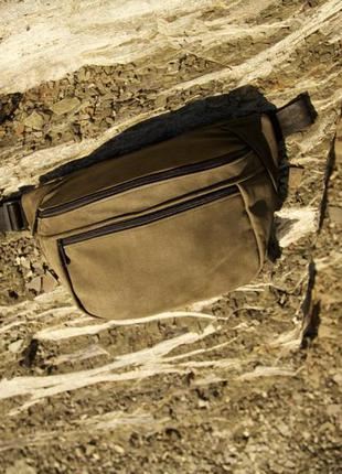 Oversize бананка натуральная кожа хаки зеленая сумка гигант на плече не рюкзак!