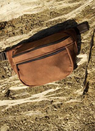 Oversize бананка натуральная кожа тертый коричневый сумка гигант на плече не рюкзак!