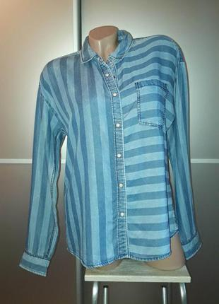 Джинсовая рубашка в полоску/лиоцел